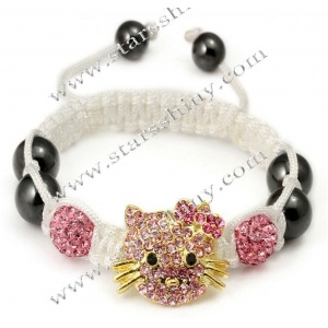 Shamballa Bracelet, alloy cat & clay rhinestone beads, adjustable.