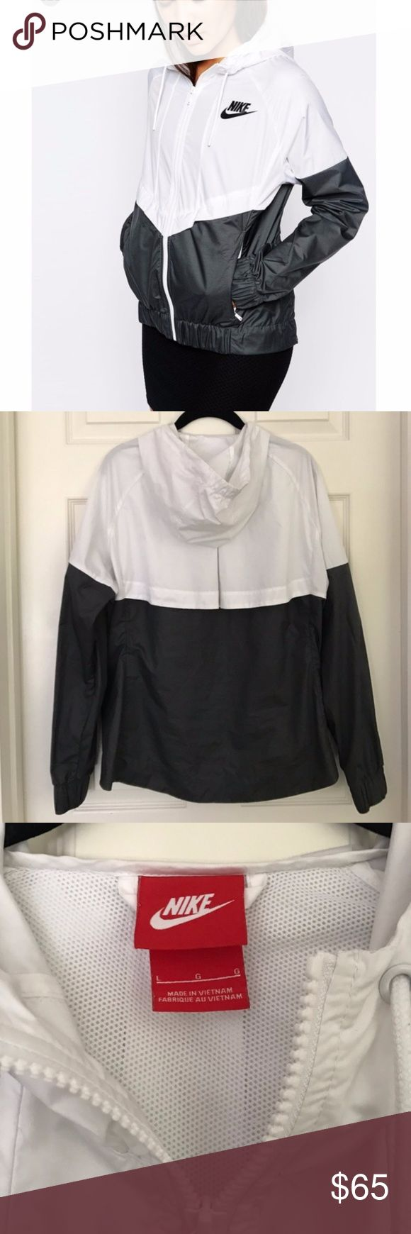 Nike Windrunner Hooded Zip Up Jacket Black + white nylon jacket with hood and side pockets. Worn only a few times......in very good condition! RARE 50 ON OTHER APPS. - NO TRADES! Nike Jackets & Coats