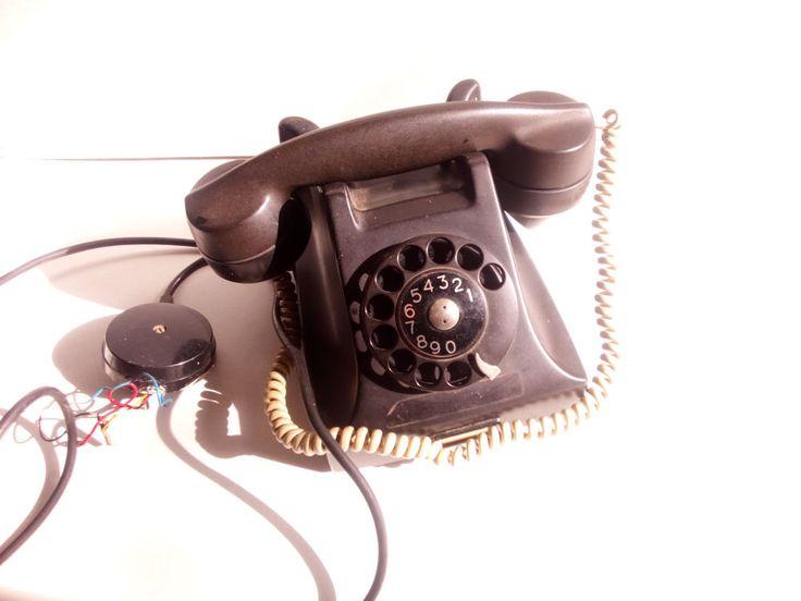 Vintage ML Ericsson Bakelite Rotary Telephone Black #Ericsson