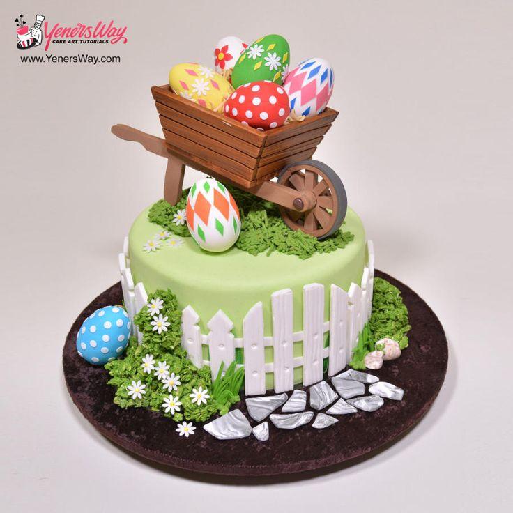 Easter Wheelbarrow Cake by Yeners Way - Cake Art Tutorials