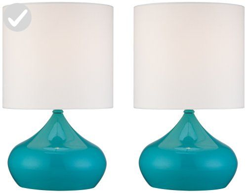 "Set of 2 Steel Droplet 14 3/4""H Teal Blue Small Accent Lamps - Unique lighting lamps (*Amazon Partner-Link)"
