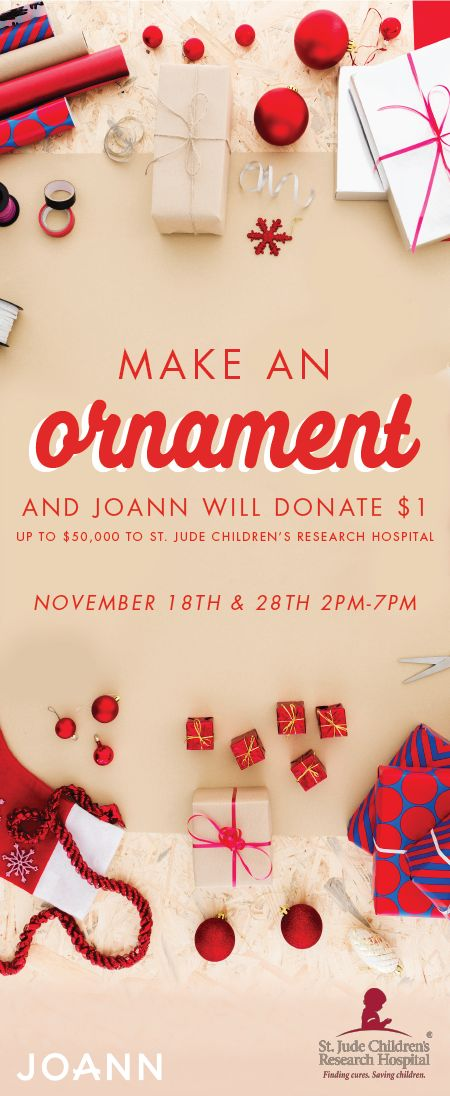 'Tis the season of giving and festive craft projects. See how the two combine by making a holiday ornament at JOANN stores November 18th & 28th! With each decoration made, a donation will be given to St. Jude Children's Research Hospital—who knew fun projects could be so powerful?! Get into the creative spirit and do your part to give back this Christmas by checking out this unique celebration.