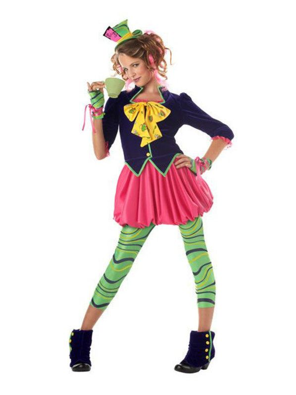 girlu0027s mad hatter costume the mad hatter tween costume perfect addition to an alice in wonderland tea party costume includes one piece dress and