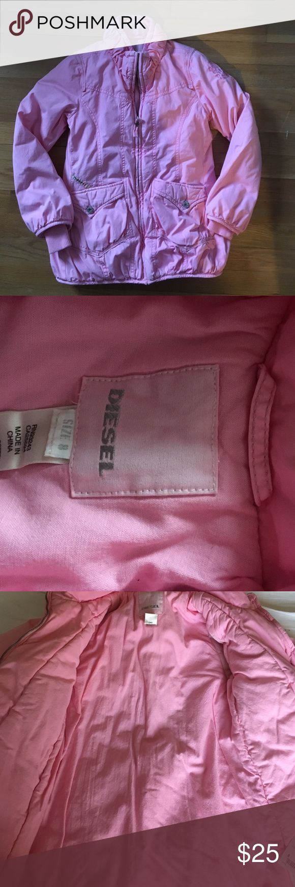 NWOT Girls Pink Warm DIESEL Jacket, size 8 GORGEOUS NWOT Girls Pink Diesel Coat. Very Warm, zip front.  I bought this for my daughter but she never got around to wearing it. Diesel Jackets & Coats