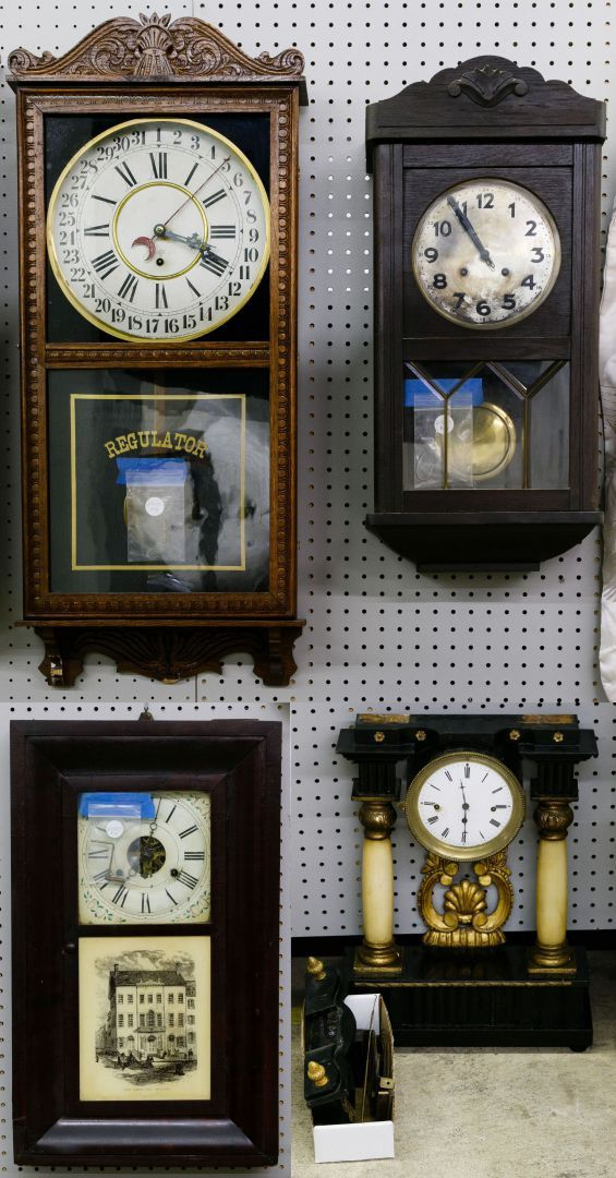 Lot 150 Wall And Mantel Clock Assortment Four Clocks Including An Oak Cased Gilbert Regulator Clock With Key And Pendul Clock Mantel Clock Antique Wall Clock