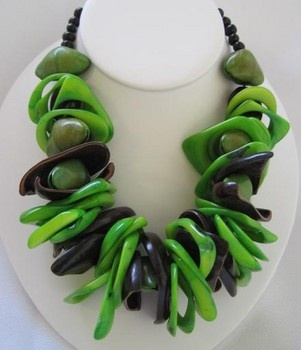 Tagua nut jewelry.  Design by Lina O'Connor, Colombian Craft Designs.