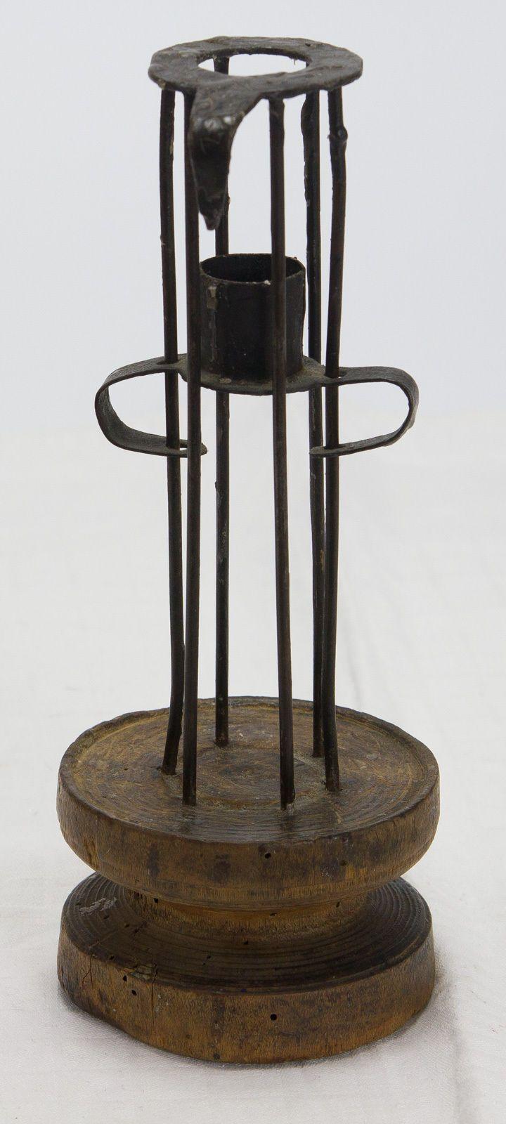 Antiker Kerzenleuchter Eisen Barock 17 18 Jhd candlestick iron 17th Monogramm in Antiquitäten &