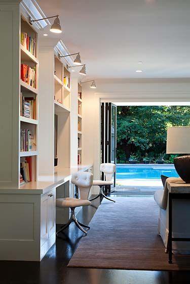 Family room built-in desks and shelves; Marie Christine Design