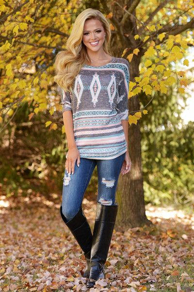 My One And Only Tribal Tunic Grey From Closet Candy Boutique Fashion Shop Closet Candy