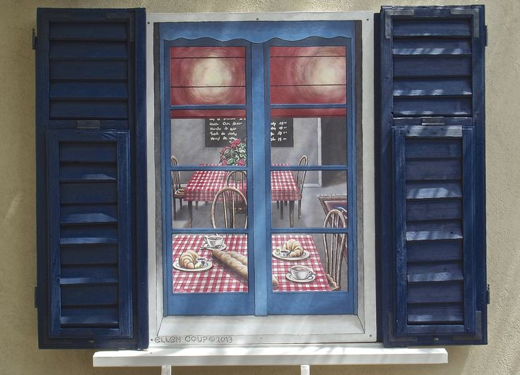 "First ""French Cafe Window"", Exterior Acrylic on Board, 85cm x 110cm. Screwed to wall between two real shutters & above a sill."