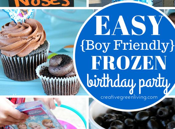 Need Frozen birthday party ideas that are easy and realistic? Creative Green Living has lots of easy Frozen birthday party ideas that are boy friendly and won't take you tons or time or money to pull off - including a free downloadable Olaf invitation!