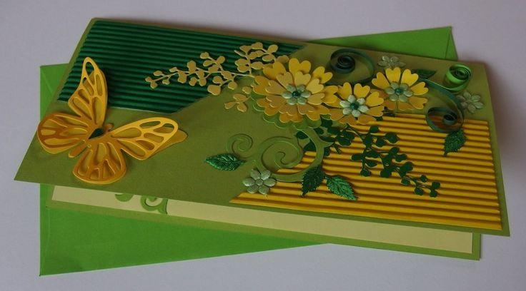 #wiosna #spring #kartka #bestwishes #card #greetingscard #życzenia #recznierobona #handmade #papercraft #embossing #Quilling #xantosia #papier #brystol #liście #leafs #kwiaty #flowers #yellow #zielony #żółty #green #motyl #butterfly