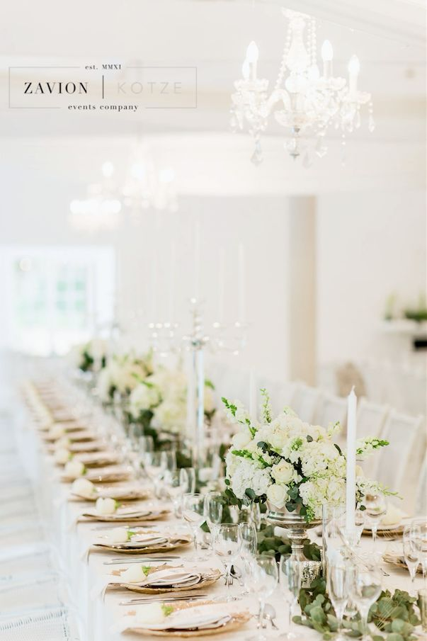 Beautiful Country Wedding Table Flowers White Roses Silver Decor
