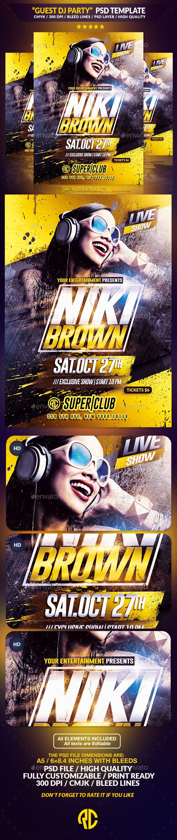 Live Dj Party | Psd Flyer Template PSD #design Download: http://graphicriver.net/item/live-dj-party-psd-flyer-template/12967280?ref=ksioks