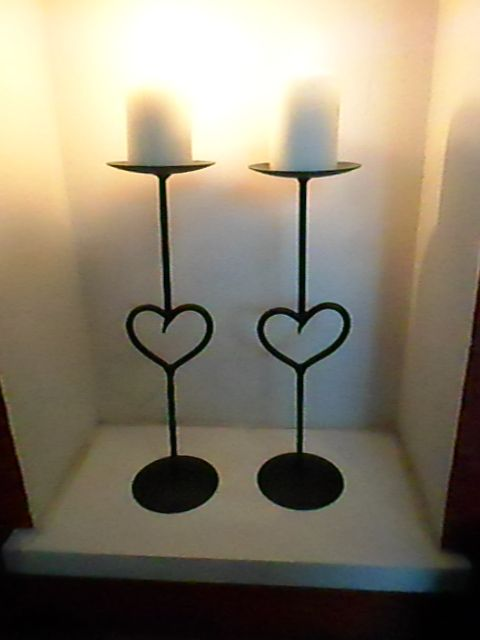 Wrought Iron Heart Featured Candle Holders... By CK.Metalcraft( England_