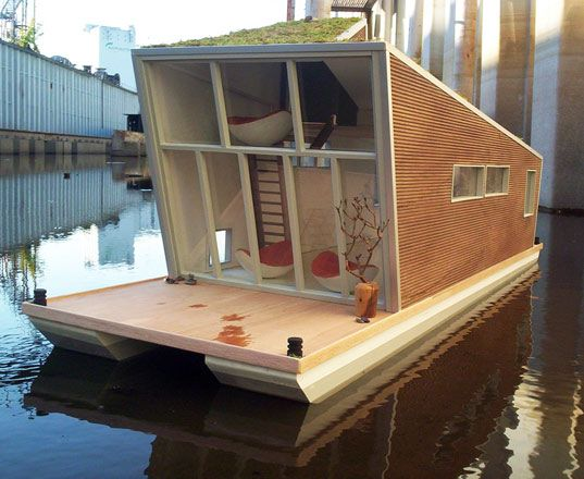 Schwimmhaus: The Sustainable Modern HouseBoat: Tiny House, Houseboats,  Billiards Table, House Boats, Green Roof,  Snooker Tables, Pools Table, Green House, Modern House