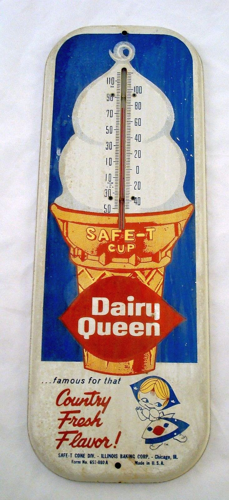 "Dairy Queen Vintage Thermometer (Old 1940 Antique Ice Cream Cone Dessert Advertising Sign, Safe-T Cup, ""Country Fresh Flavor!"")Biddy Craft"