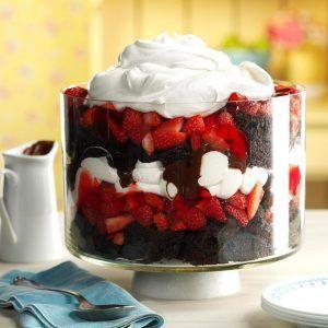 17 Impressive Chocolate-Strawberry Desserts - Chocolate Strawberry Punch Bowl Trifle