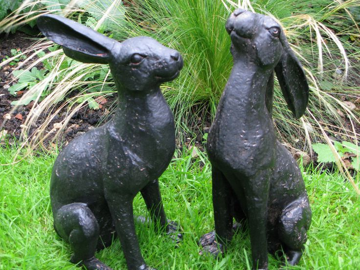 Bronze Colour Moongazing Or Alert Hare Garden Ornament