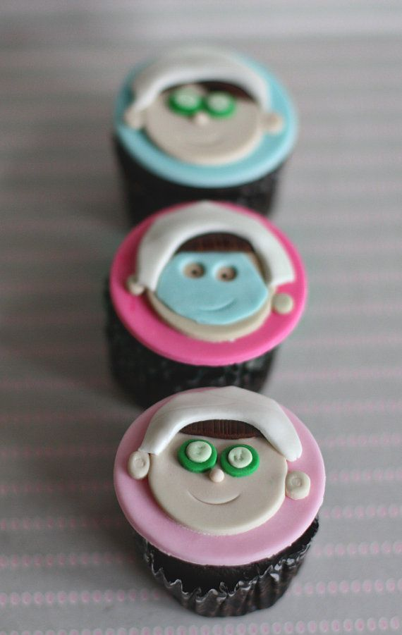 Fondant Spa Cupcake Toppers Perfect for a Spa Birthday Party Cupcakes, Cookies or Mini-Cakes on Etsy, $21.00