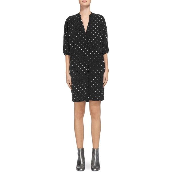 Whistles Luna Dot-Print Dress (114.925 CRC) ❤ liked on Polyvore featuring dresses, black, whistles dress, spotted dress, dot dress and polka dot dress