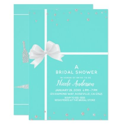 Modern White Bow Diamond Bling Bridal Shower Card - wedding invitations diy cyo special idea personalize card