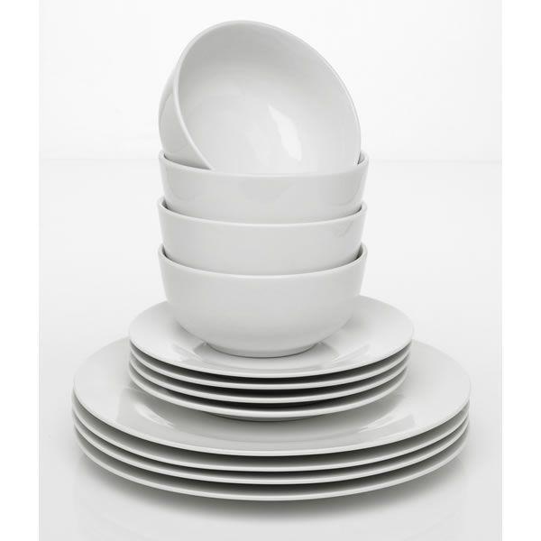 Wilko Everyday Value Porcelain Dinner Set White 12 Piece