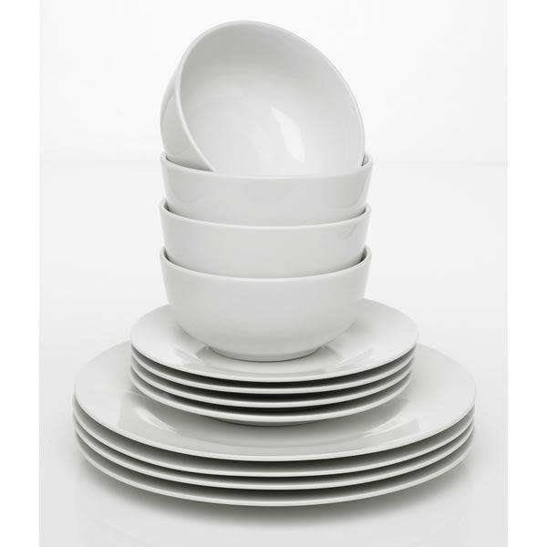 Wilko Everyday Value Porcelain Dinner Set White 12 Piece