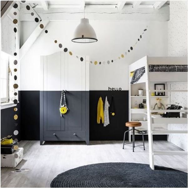 Black and white #boys #room - love the half painted wall and wardrobe.