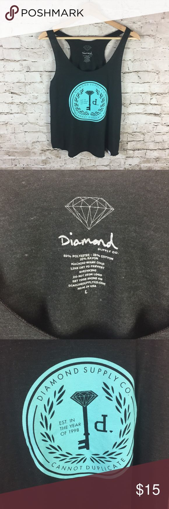 "Juniors Diamond Supply Co. Tank top size Large Juniors Diamond Supply Co. Tank top size Large.  Super Cute tank made of Polyester, Cotton & Rayon.  Gently used.  Please see pictures for details.  Armpit to Armpit - 16"" Length - 25""  Thank you for shopping with us, we appreciate your business.  *All items are measured laying flat, please be sure to check sizing before purchasing. All brands do fit differently and all sales are final. I do my best to accurately describe all items so please be…"