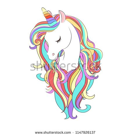f7e69fdbc Cute White Unicorn with rainbow hair vector illustration for children design.  Sweet fantasy character for t-shirts and cards
