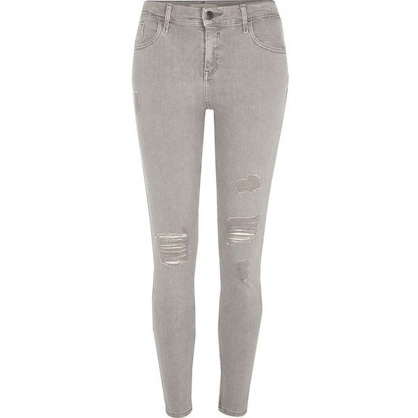 River Island Light grey Amelie ripped super skinny jeans ($84) ❤ liked on Polyvore featuring jeans, grey, skinny jeans, women, super skinny jeans, destroyed skinny jeans, mid rise skinny jeans and skinny leg jeans