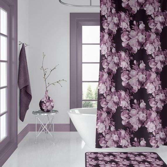 Wine And Roses Floral Shower Curtain Burgundy Maroon Dark