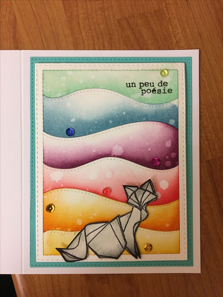 L'encre et l'image chat origami distress ink