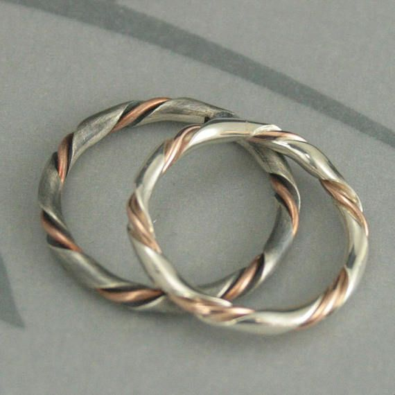 Women Sterling Silver Gold Tone Womens Wedding Ring Rope Design Plain Band