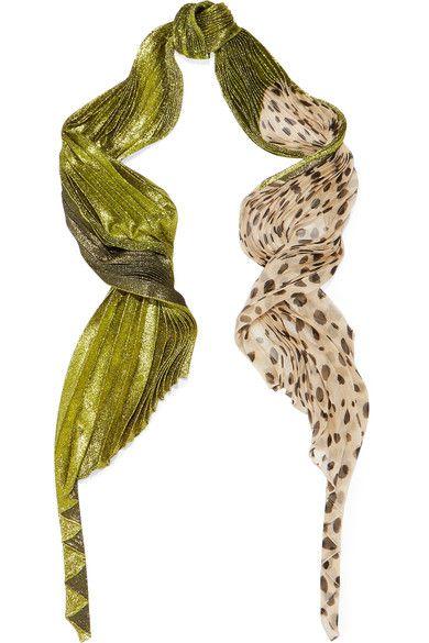 Haider Ackermann - Plissé Lamé And Polka-dot Chiffon Scarf - Leopard print - one size