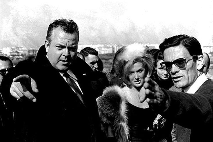 """Orson Welles, Laura Betti and Pier Paolo Pasolini on the set of """"La Ricotta"""" 1963"""