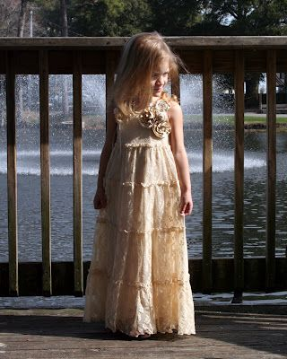 Dress made from an adult lace skirt! Beautiful! directions