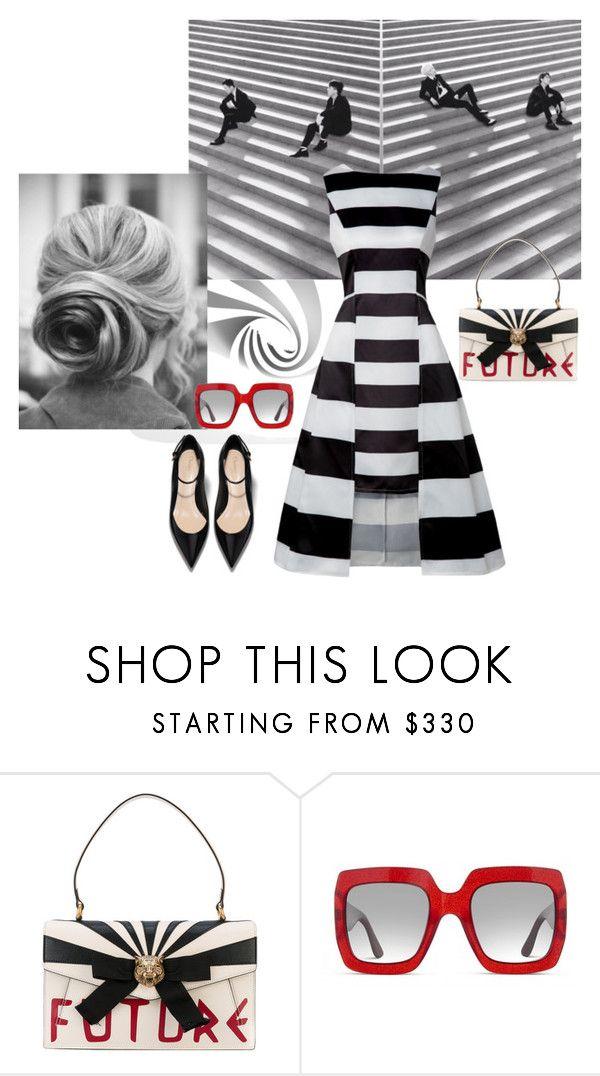 Черно-белые полоски by repriza on Polyvore featuring мода and Gucci