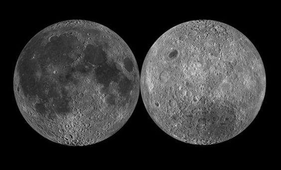 mitos del espacio 2 La Luna tiene un lado oscuro  La luna recibe luz solar en todo su cuerpo, no hay un lugar que no alcance a ser iluminado, sólo que no alcanzamos a apreciar la otra cara debido a que la luna gira a la par que la Tierra dándonos la misma vista siempre. Esta deducción proviene del ciclo lunar en la que la luz cambia el aspecto de la luna para nosotros que vivimos en al Tierra.