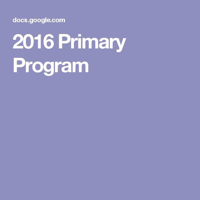 2016 Primary Program…