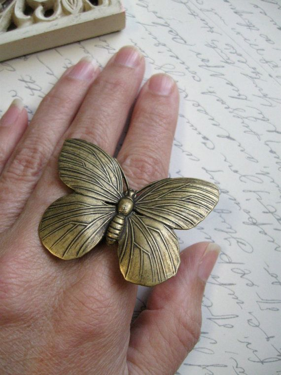 Big butterfly ring brass band cottage chic summer by botanicalbird, $22.00