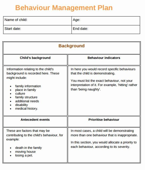 Sample Behavior Plan Luxury 10 Behaviour Management Plan Examples