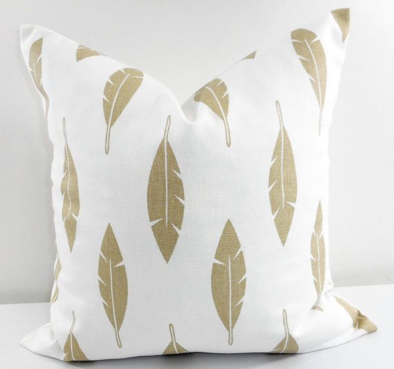 Athena Gold Feather Pillow cover. Athena Gold and white.  This listing is for 1 piece of White with gold printed feather pillow case in ist picture, next pictures only showing you the color coordination what its look like with other pillows. select your size This pillow cover is ready to ship once your payment cleared.  Give your home an INSTANT MAKEOVER just by changing the pillows! Our pillow covers are SLIPCOVERS for your pillows! They can be slipped on a pillow you already have or over a…