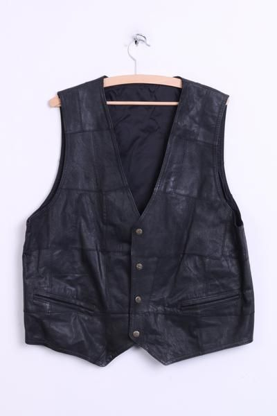 Vintage Mens XL Leather Vest Waistcoat Black - RetrospectClothes