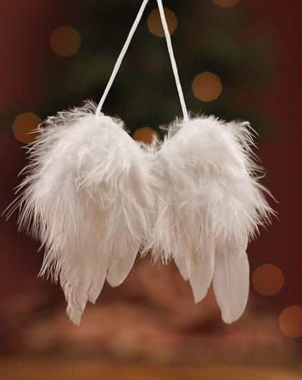 Beautiful Feather Angel Wing Christmas Tree Decoration Hanging Ornament White