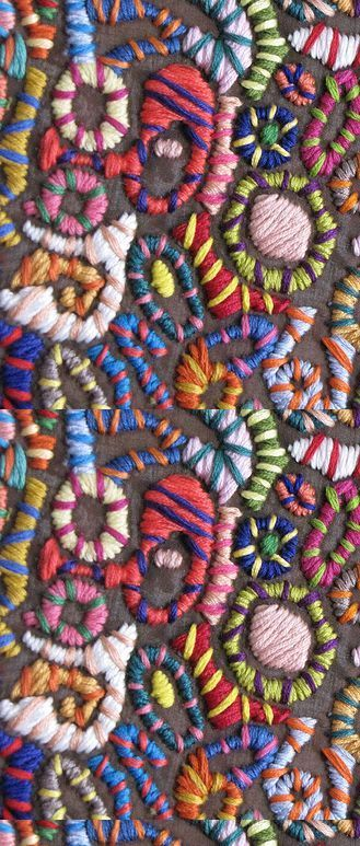 This fabulous, colourful crewel work is inspiring to get started on some of your own!