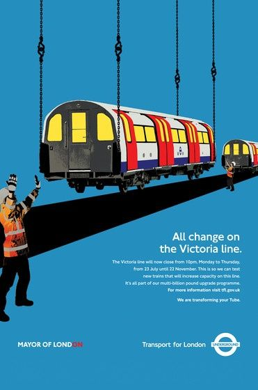 """""""All change on the Victoria Line."""" London Transport Tube Repairs poster"""