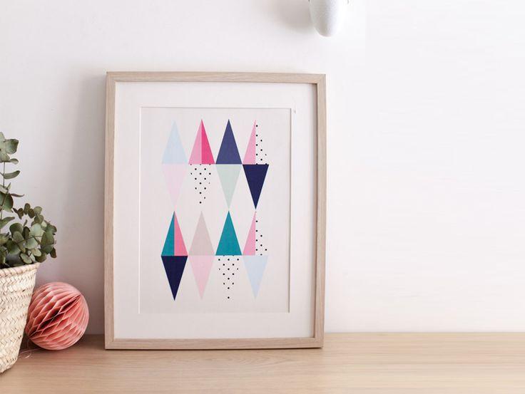 """Affiche losange """"TRIGONE"""" - poster graphique inspiration scandinave - triangle - losange - géométrique......................................................................................"""