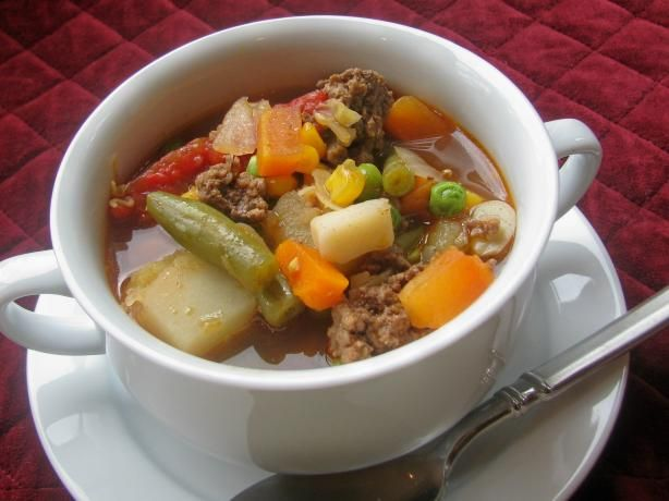 Hamburger Dump Soup from Food.com:   I like easy recipes and this recipe is very easy.  It also very good!!